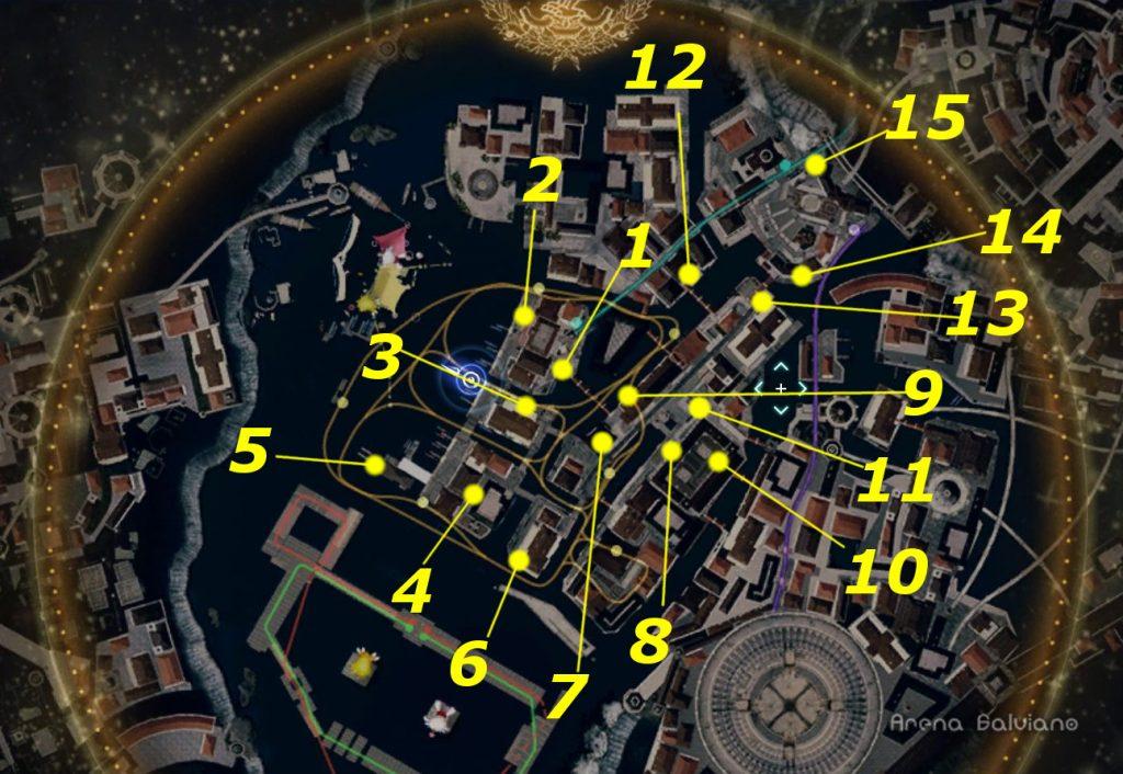 FF15のDLC『モグチョコカーニバル』で発生するサブクエスト『おでかけヒナチョコボ』の全体マップです。