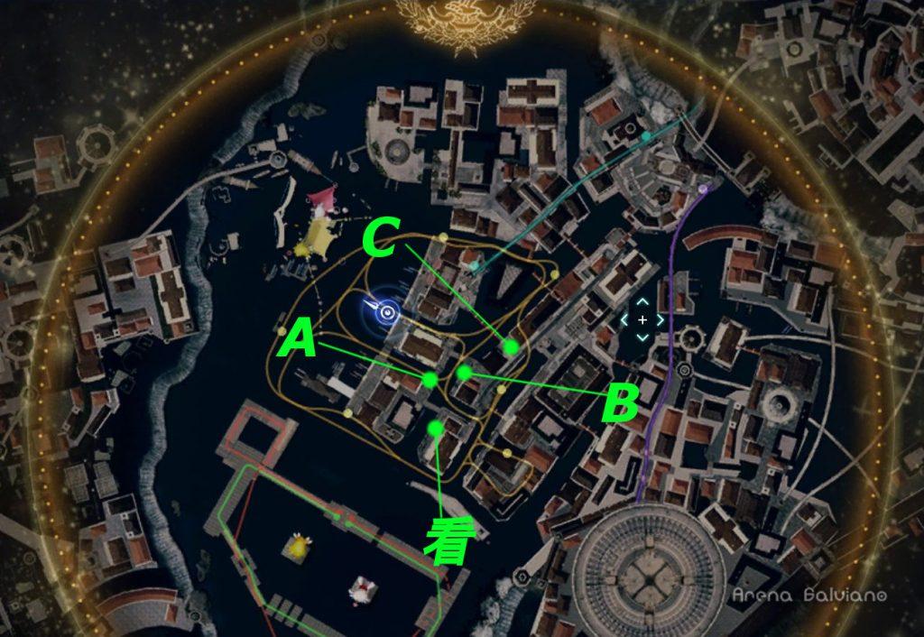 FF15のDLC『モグチョコカーニバル』で発生する『モグチョコシャッターチャレンジ』の全体マップ(緑)です。