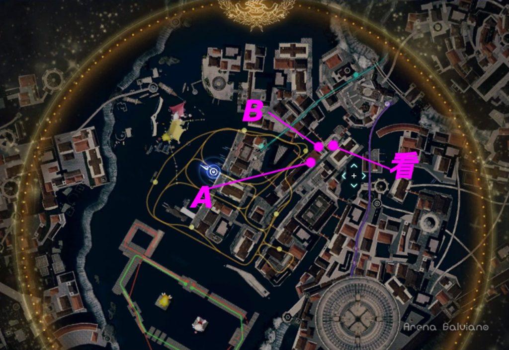 FF15のDLC『モグチョコカーニバル』で発生する『モグチョコシャッターチャレンジ』の全体マップ(桃色)です。
