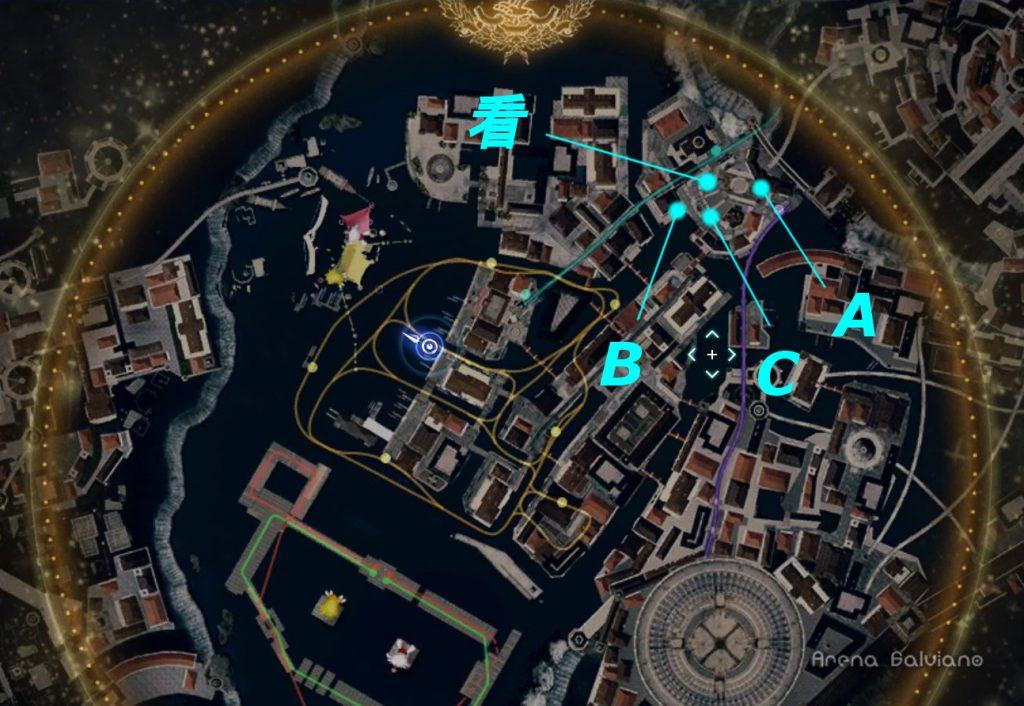FF15のDLC『モグチョコカーニバル』で発生する『モグチョコシャッターチャレンジ』の全体マップ(水色)です。