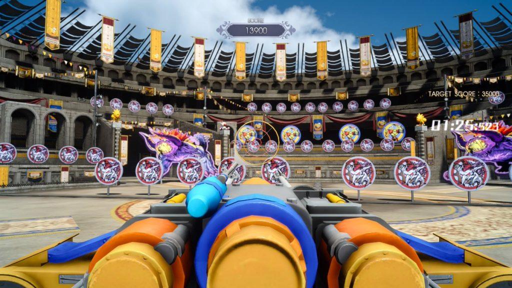 FF15のDLC『モグチョコカーニバル』で遊戯可能な水上チョコボレースとガビアノ闘技場のイメージ画像です。
