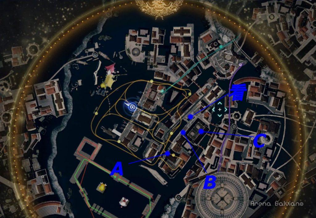 FF15のDLC『モグチョコカーニバル』で発生する『モグチョコシャッターチャレンジ』の全体マップ(青)です。