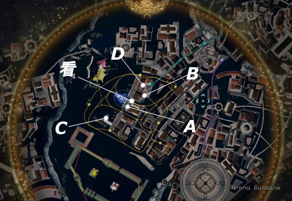 FF15のDLC『モグチョコカーニバル』で発生する『モグチョコシャッターチャレンジ』の全体マップ(白)です。