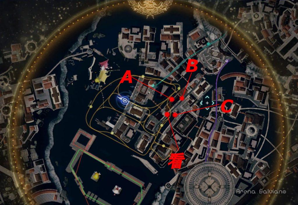 FF15のDLC『モグチョコカーニバル』で発生する『モグチョコシャッターチャレンジ』の全体マップ(赤)です。