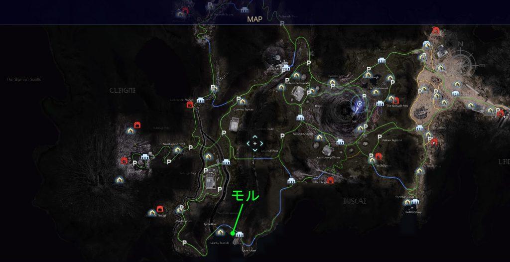 FF15のタイムドクエスト『第13回 ハンティング』の全体マップです。