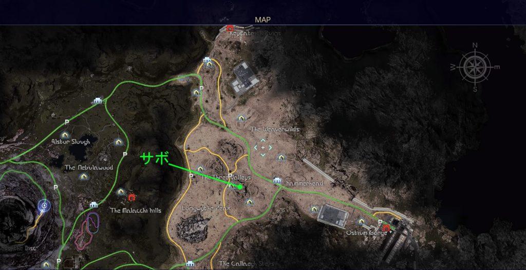FF15のタイムドクエスト『第10回 ハンティング』の全体マップです。