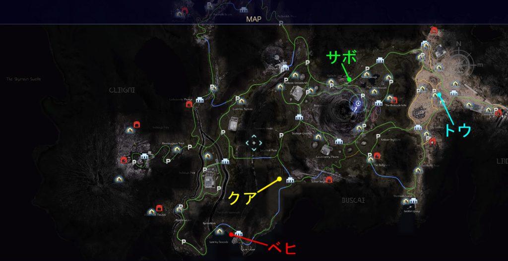 FF15のタイムドクエスト『第2回 ハンティング』の全体マップです。