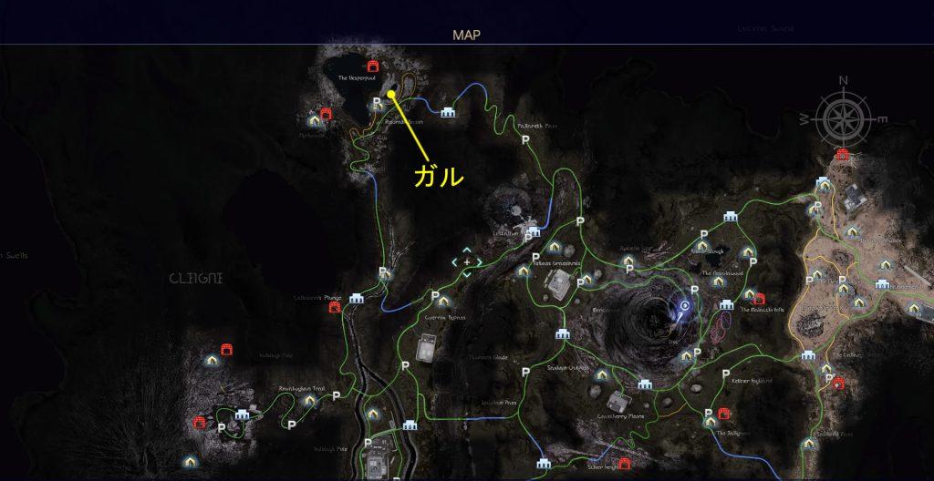 FF15のタイムドクエスト『第15回 ハンティング』の全体マップです。