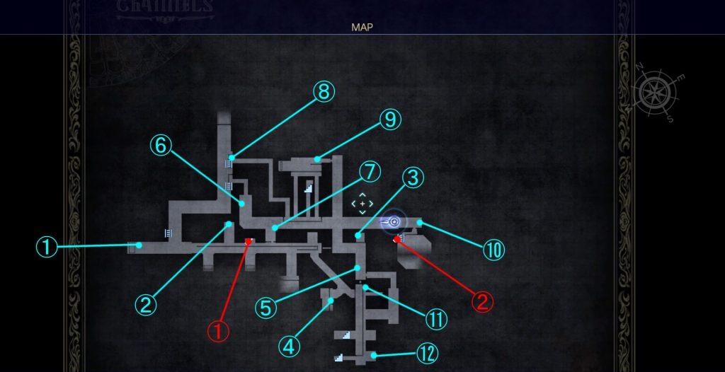 ダンジョン「クラストゥルム水道」の内部マップ①です。