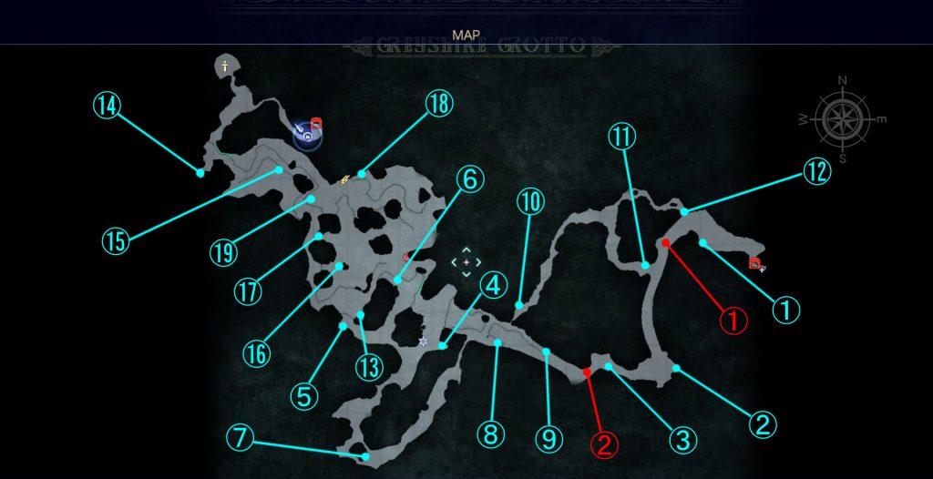 ダンジョン「グレイシャー洞窟」の全体マップです。