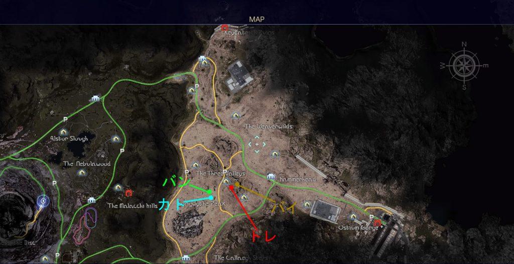 FF15のタイムドクエスト『第5回 ハンティング』の全体マップです。