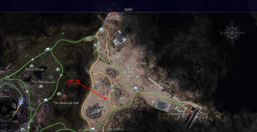 FF15のタイムドクエスト『第14回 ハンティング』の全体マップです。