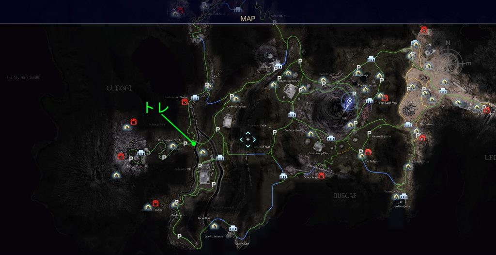 FF15のタイムドクエスト『第12回 ハンティング』の全体マップです。