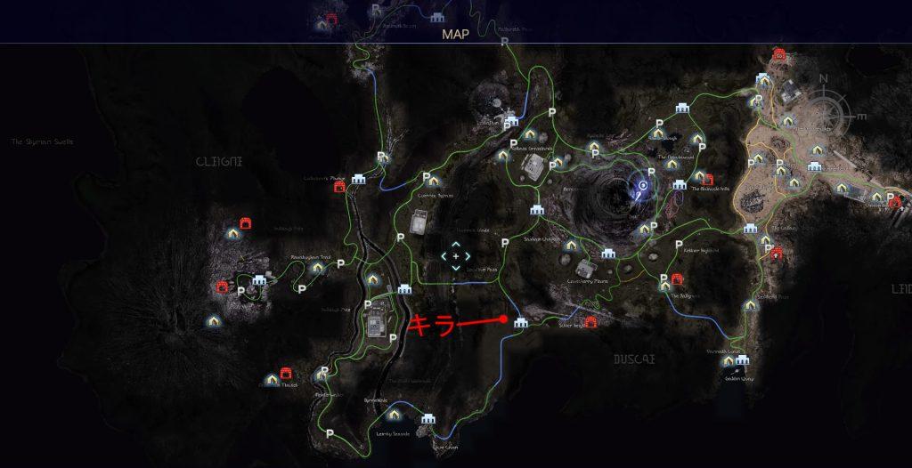 FF15のタイムドクエスト『第11回 ハンティング』の全体マップです。