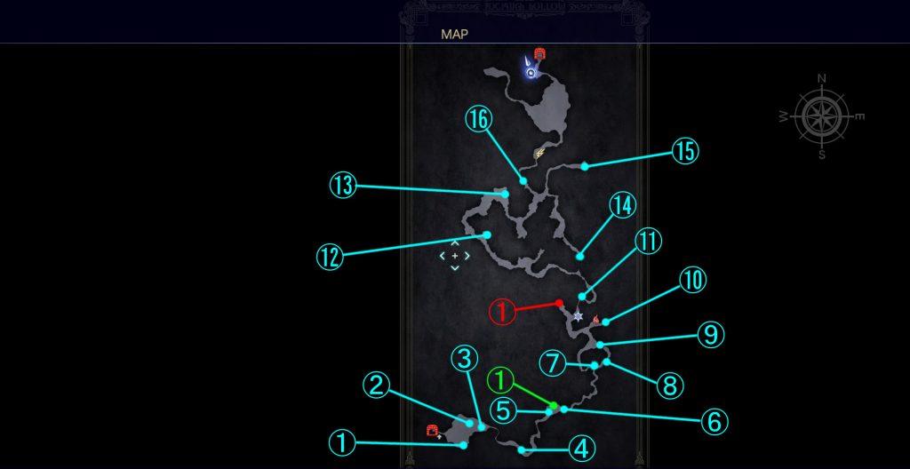 ダンジョン「フォッシオ洞窟」の全体マップです。
