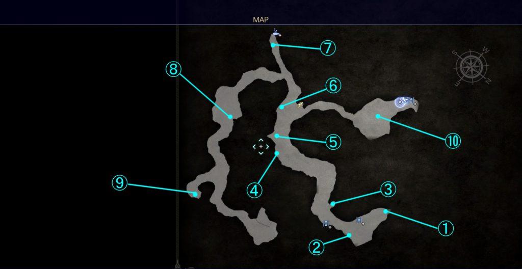 ダンジョン「ドロール洞窟」のマップ②です。