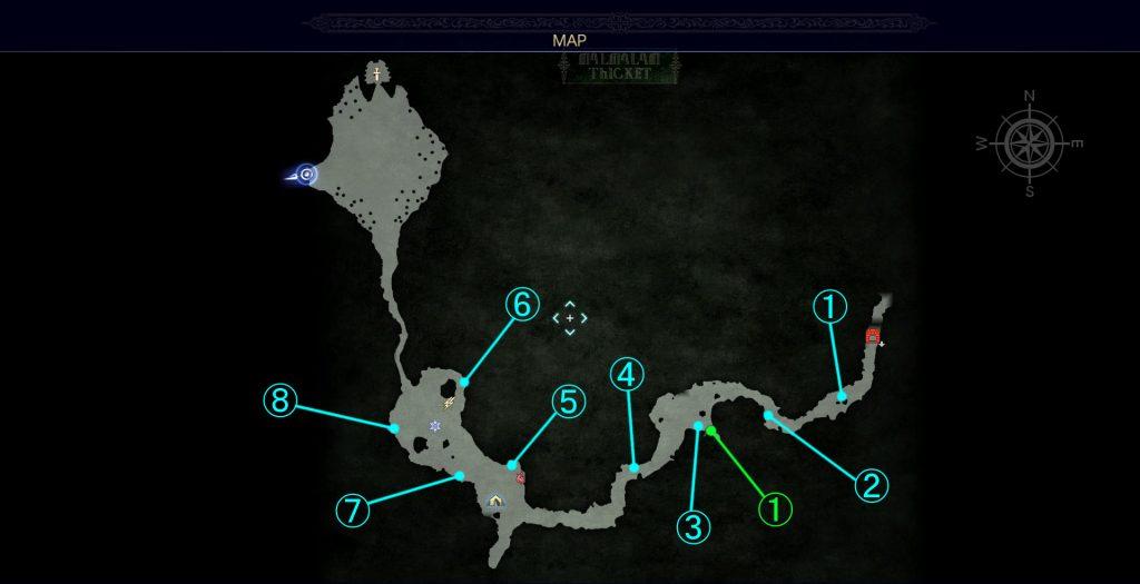 ダンジョン「マルマレームの森」の全体マップです。