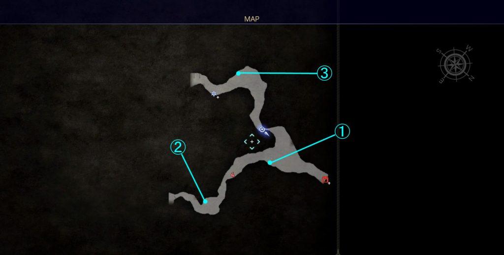 ダンジョン「ドロール洞窟」のマップ①です。