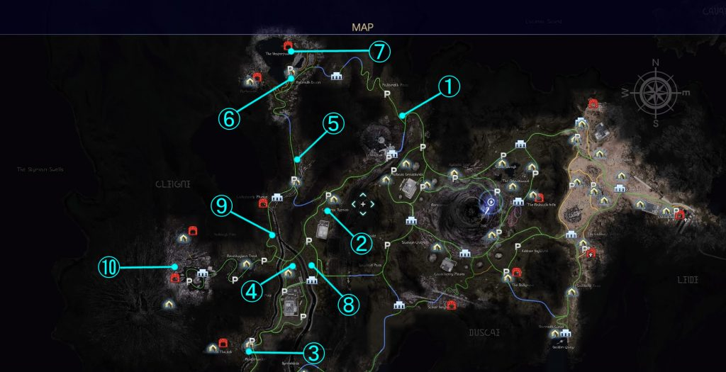 負傷者救助クエストの全体マップです。(クレイン地方)