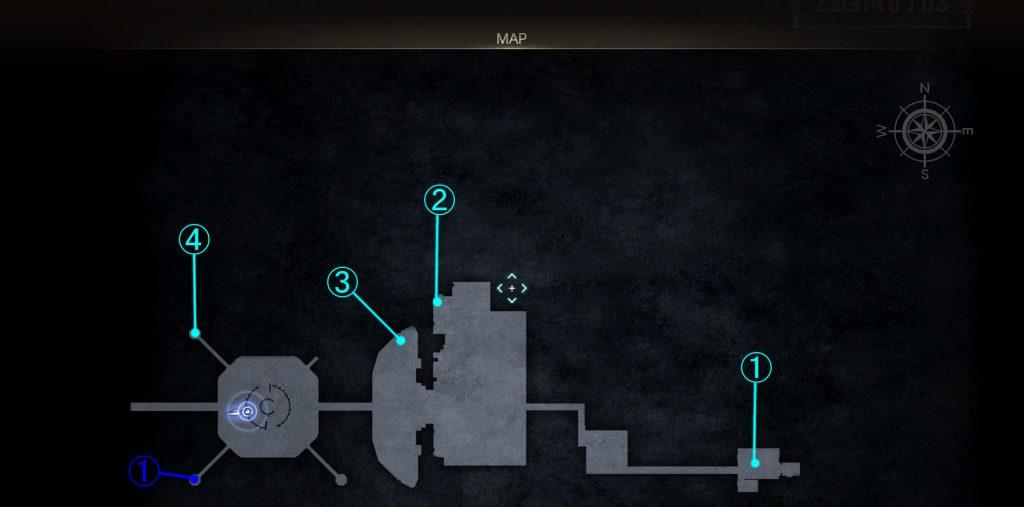 グラディオラスルートの要塞内マップ④(鉄巨人エリア)の画像です。