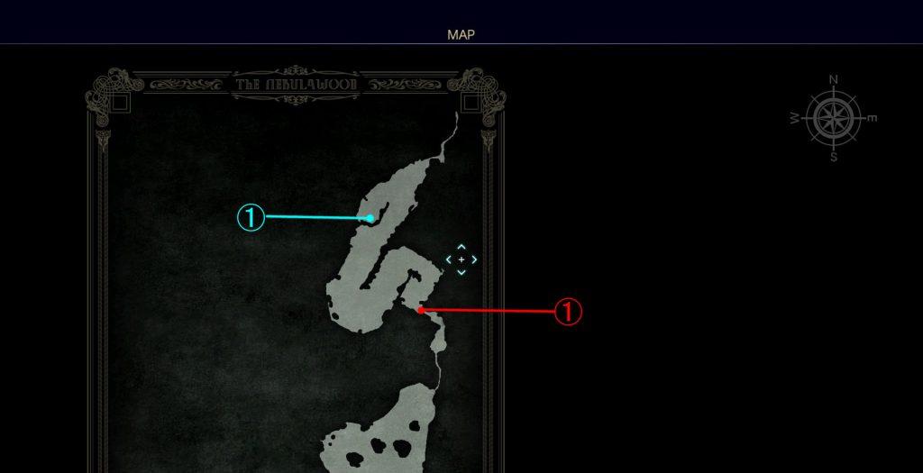 ダンジョン「薄霧の森」の北側のマップです。