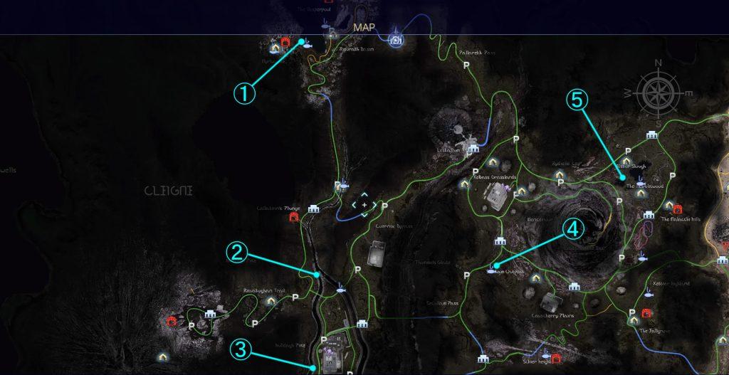 FF15のサブクエスト『まぼろしのカエル』で捕獲できる七色カエルの全体マップです。