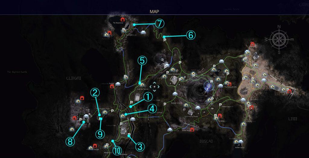 クレイン地方の故障車クエストの全体マップです。