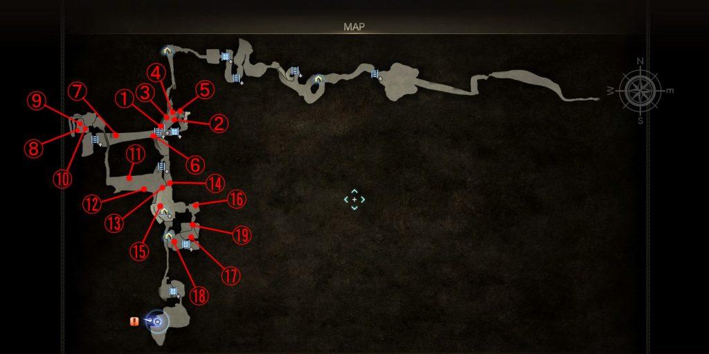 エピソードグラディオラスの「朽ちた柱」の場所一覧。全体マップ画像です。