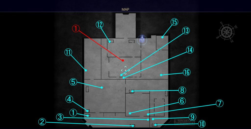 FF15のダンジョン「アラケオル基地」の全体マップです。