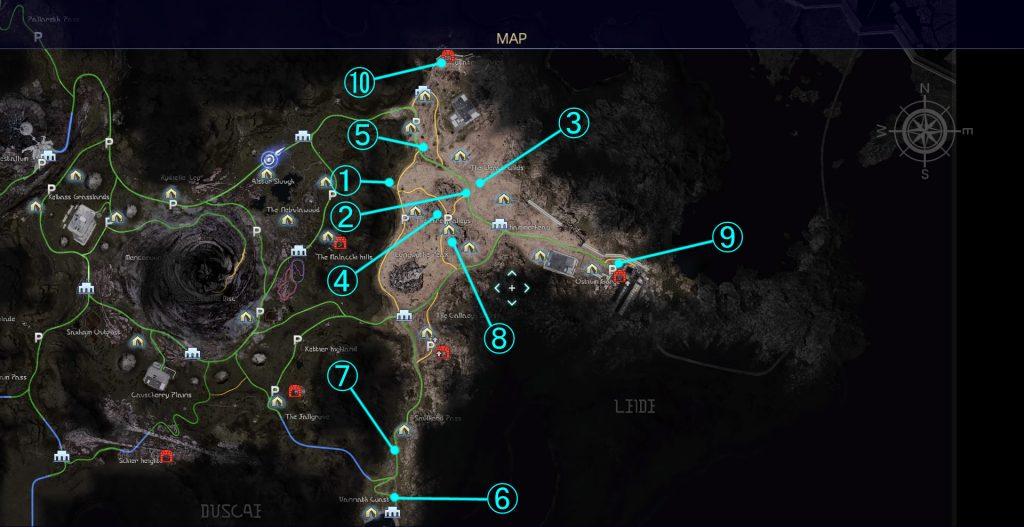 負傷者救助クエストの全体マップ(リード地方)の画像です。