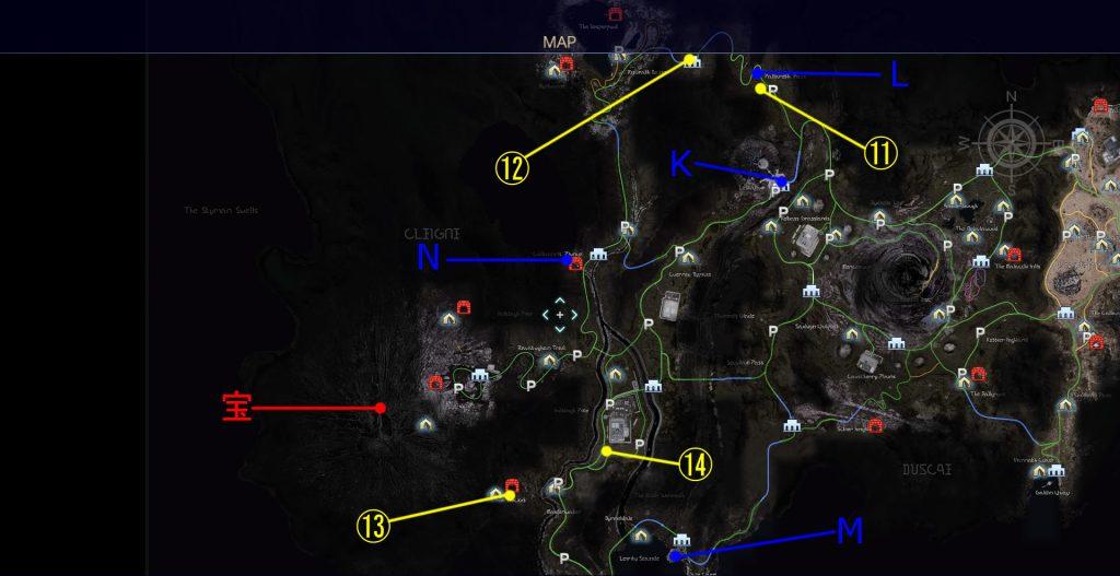 サブクエスト「宝の在り処」の全体マップです。(クレイン地方)