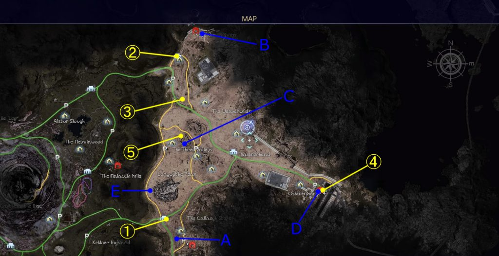 サブクエスト「宝の在り処」の全体マップです。(リード地方)