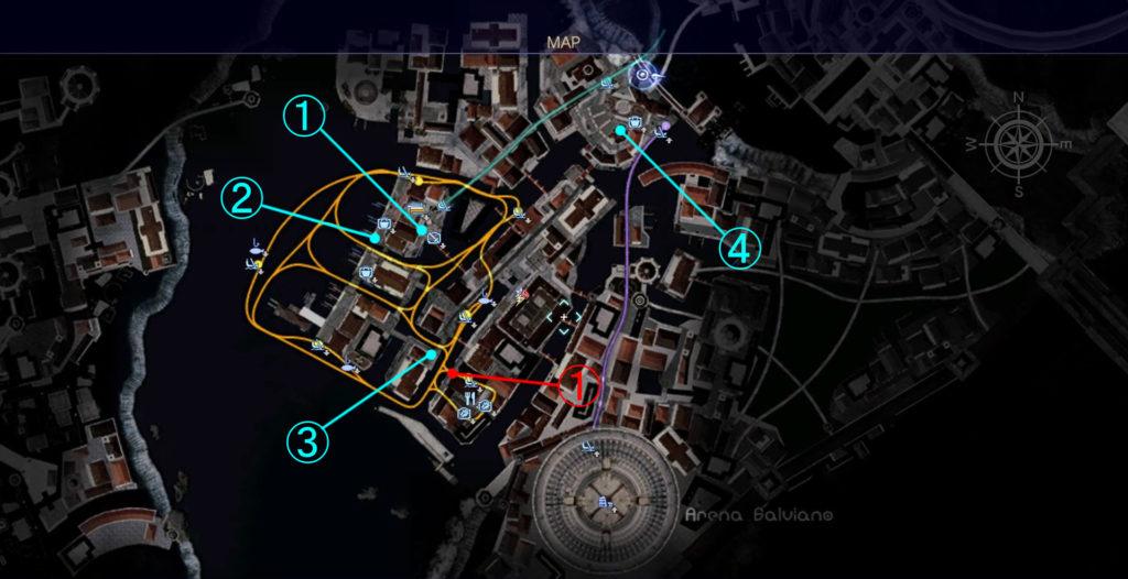 FF15の水都『オルティシエ』で受注可能な『シャッターチャンス』のマップです。