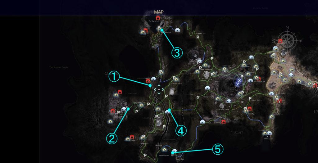 FF15のプロンプトから受注可能なサブクエスト『シャッターチャンス(クレイン地方)』の全体マップです。