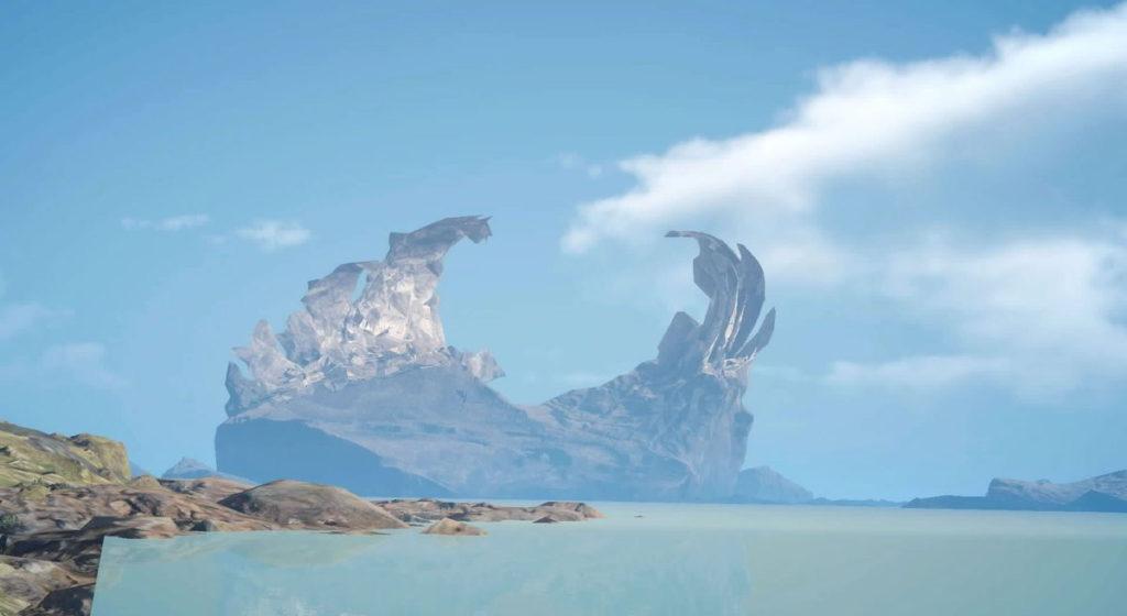 FF15のビブから受注可能なサブクエスト『夢の写真家デビュー?』で撮影する『神影島』です。
