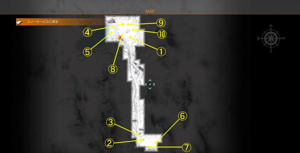 FF15にて配信された『エピソードプロンプト』のエリアクエストの全体マップです。