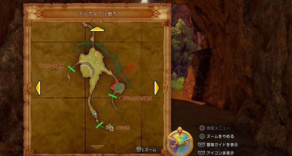 ドラゴンクエスト11の『デルカダール地方(任意)』のフィールドマップです。