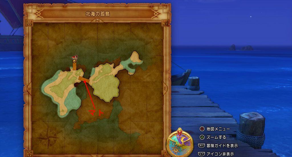 ドラゴンクエスト11のミニゲーム『ボウガンアドベンチャー』の『北海の孤島』の全体マップです。