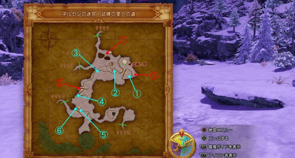 ドラゴンクエスト11の『ネルセンの迷宮・試練の里への道』の全体マップです。