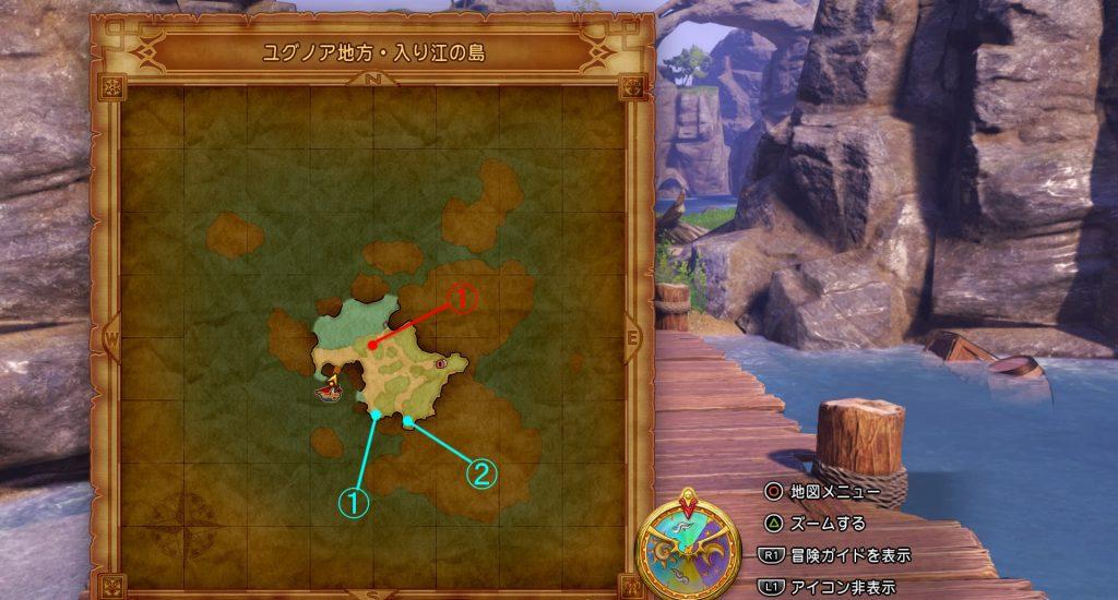 ドラゴンクエスト11の『ユグノア地方・入り江の島』のフィールドマップです。