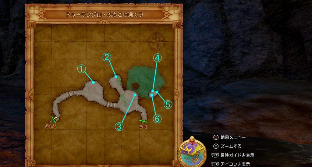 ドラゴンクエスト11の『ドゥーランダ山・ふもとの洞くつ』の全体マップです。