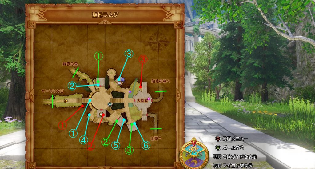 ドラゴンクエスト11の『聖地ラムダ』の全体マップです。