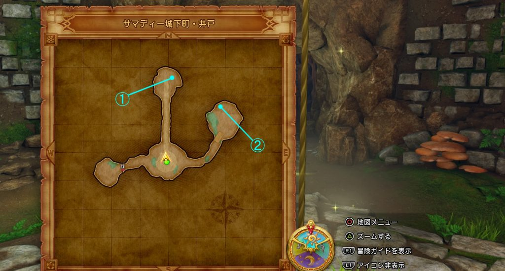 ドラゴンクエスト11の『サマディー城下町・井戸』のフィールドマップです。