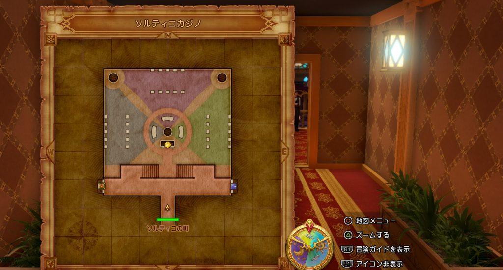 ドラゴンクエスト11の『ソルティコカジノ』のフィールドマップです。