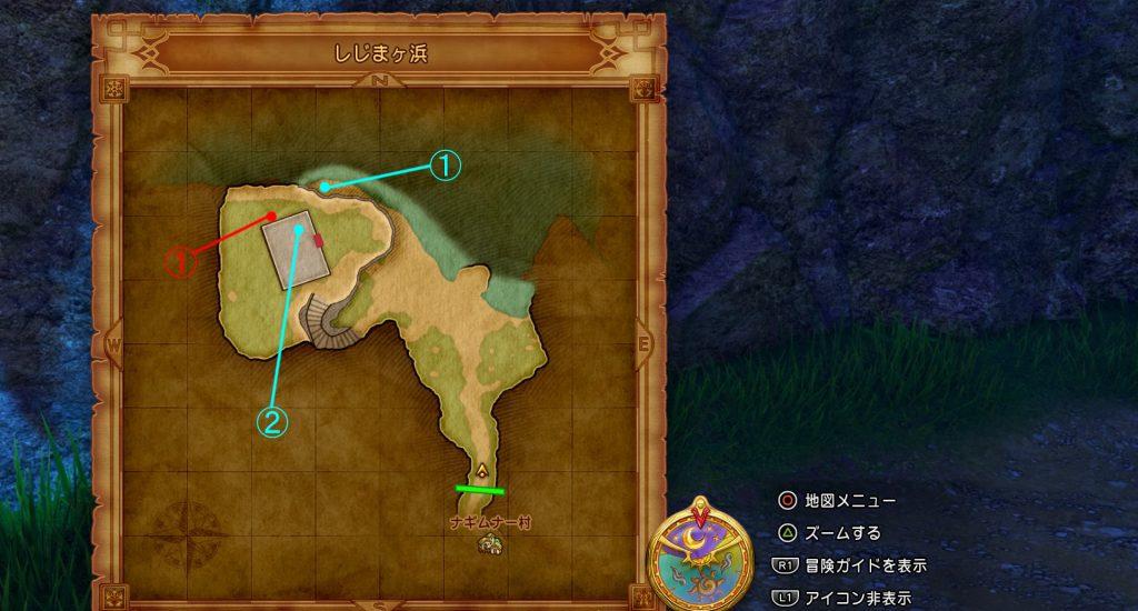 ドラゴンクエスト11の『しじまヶ浜』のフィールドマップです。