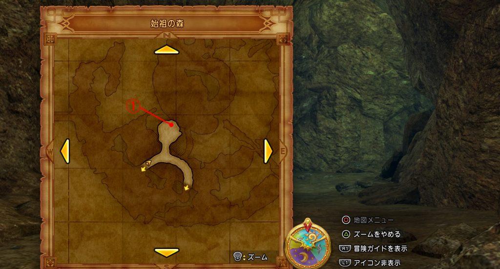 ドラゴンクエスト11の『始祖の森(内部)』の全体マップです。