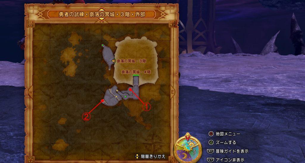 ドラゴンクエスト11の『勇者の試練・奈落の冥城・3階・外部』の全体マップです。