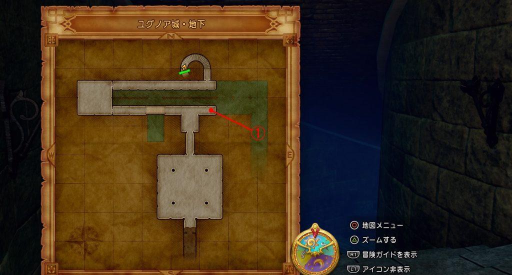 ドラゴンクエスト11の『ユグノア城・地下』の全体マップです。