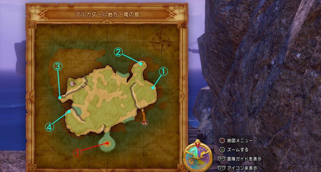 ドラゴンクエスト11の『デルカダール地方・南の島』のフィールドマップです。