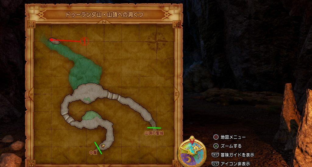 ドラゴンクエスト11の『ドゥーランダ山・山頂への洞くつ』の全体マップです。